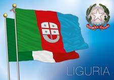 Bandiera regionale della Liguria, Italia Fotografia Stock Libera da Diritti