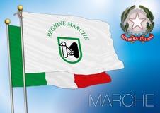 Bandiera regionale della Marche, Italia Immagine Stock Libera da Diritti
