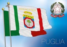 Bandiera regionale della Puglia, Italia Fotografia Stock Libera da Diritti