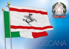 Bandiera regionale della Toscana, Italia Fotografia Stock