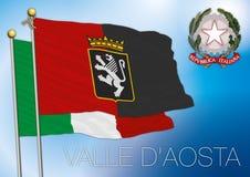 Bandiera regionale della Valle di Aosta, Italia Fotografie Stock