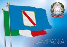 Bandiera regionale di campania, Italia Fotografie Stock Libere da Diritti