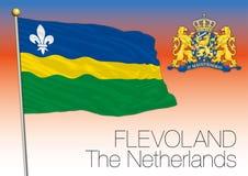 Bandiera regionale di Flevoland, Paesi Bassi, Unione Europea Immagini Stock Libere da Diritti