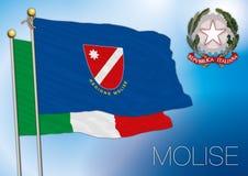 Bandiera regionale di Molise, Italia Fotografie Stock Libere da Diritti