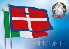 Bandiera regionale di Piemonte Piemonte, Italia Fotografia Stock