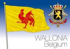 Bandiera regionale di Vallonia, Belgio Fotografie Stock
