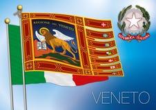 Bandiera regionale di Veneto, Italia Fotografia Stock Libera da Diritti