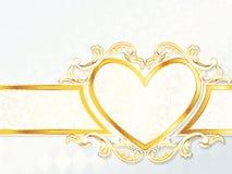 Bandiera rococo orizzontale di cerimonia nuziale con l'emblema del cuore Immagini Stock Libere da Diritti