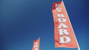 Bandiera rossa con un bordo della mosca dell'iscrizione Pubblicità degli sport acquatici sulla spiaggia archivi video