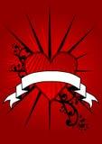 Bandiera rossa del cuore Fotografia Stock Libera da Diritti