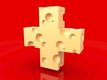 Bandiera rossa del formaggio svizzero Fotografia Stock