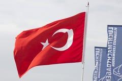 Bandiera rossa del turco Fotografie Stock