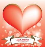 Bandiera rossa di simbolo del cuore Fotografie Stock Libere da Diritti