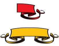 Bandiera rossa e nastro giallo Immagini Stock Libere da Diritti