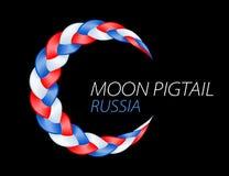 Bandiera russa della treccia variopinta Vettore ondulato riccio illustrazione di stock