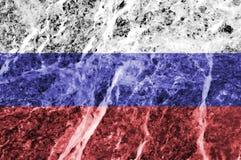Bandiera russa su struttura di marmo Fotografia Stock Libera da Diritti