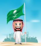 bandiera saudita realistica della tenuta e di ondeggiamento del personaggio dei cartoni animati dell'uomo 3D Fotografie Stock Libere da Diritti