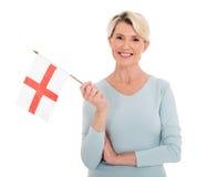 Bandiera senior dell'Inghilterra della donna Fotografia Stock