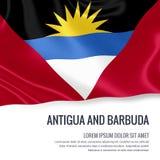 Bandiera serica dell'Antigua e Barbuda che ondeggia su un fondo bianco isolato con l'area di testo bianca per il vostro messaggio illustrazione vettoriale