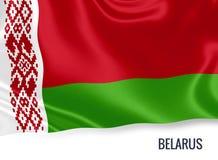 Bandiera serica della Bielorussia che ondeggia su un fondo bianco isolato Fotografie Stock Libere da Diritti