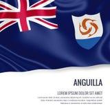 Bandiera serica di Anguilla che ondeggia su un fondo bianco isolato con l'area di testo bianca per il vostro messaggio dell'annun Immagini Stock