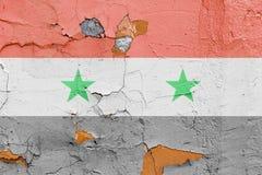 Bandiera siriana dipinta su un muro di mattoni Bandierina della Siria Priorità bassa astratta strutturata Immagine Stock Libera da Diritti