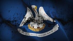 Bandiera sporca di lerciume dello stato USA della Luisiana che ondeggia sul vento royalty illustrazione gratis