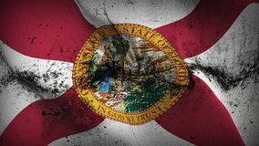 Bandiera sporca di lerciume dello stato USA di Florida che ondeggia sul vento illustrazione di stock