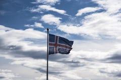 Bandiera a Strandarkirkja, Selvogur, Islanda Immagini Stock