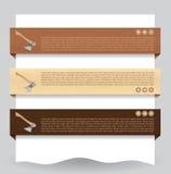 Bandiera strutturata di legno di Web site con l'ascia Immagini Stock Libere da Diritti