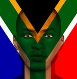 Bandiera sudafricana sovrapposta sopra l'uomo illustrazione di stock