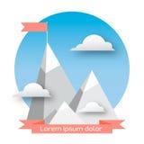 Bandiera sulla montagna Immagini Stock Libere da Diritti