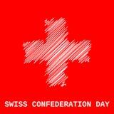 Bandiera svizzera di covata su rosso illustrazione di stock