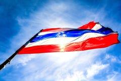 Bandiera tailandese con cielo blu Fotografie Stock