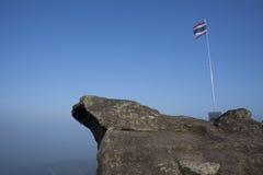 Bandiera tailandese su cielo blu Fotografia Stock Libera da Diritti