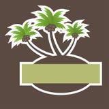 Bandiera tropicale della spiaggia con la palma dell'albero Fotografia Stock Libera da Diritti