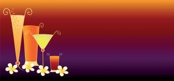 Bandiera tropicale delle bevande Fotografia Stock Libera da Diritti