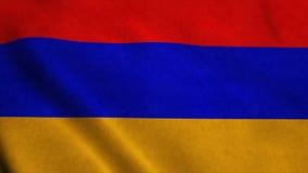 Bandiera ultra--HD realistica dell'Armenia che ondeggia nel vento Ciclo senza cuciture con struttura altamente dettagliata del te illustrazione di stock