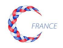 Bandiera variopinta della Francia della treccia Vettore ondulato riccio illustrazione vettoriale