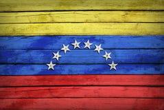 Bandiera venezuelana dipinta sui bordi di legno fotografia stock libera da diritti