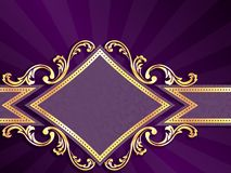 Bandiera viola a forma di diamante orizzontale Fotografie Stock
