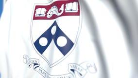 Bandiera volante con l'emblema dell'università della Pennsylvania, primo piano Animazione loopable editoriale 3D illustrazione vettoriale