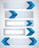 bandiere 3d con le frecce blu. Immagine Stock Libera da Diritti