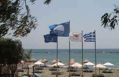 Bandiere alla spiaggia fotografie stock