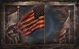 Bandiere americane o bandiera degli Stati Uniti Fotografie Stock Libere da Diritti