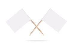 Bandiere bianche in bianco attraversate Isolato immagine stock libera da diritti