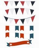Bandiere bianche e blu rosse Fotografia Stock