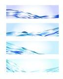 Bandiere blu dell'onda Fotografia Stock