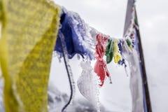 Bandiere buddisti congelate Immagini Stock