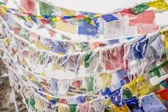 Bandiere buddisti congelate Fotografie Stock Libere da Diritti